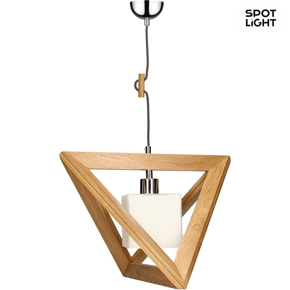 Chrom Glas Eiche Metall Spot-Light Pendelleuchte Trigonon E27 Holz schwa